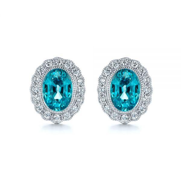 Blue Zircon and Diamond Earrings - Image