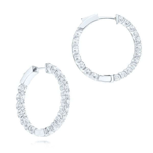 Brilliant Facet Pavé Diamond Hoop Earrings - Image