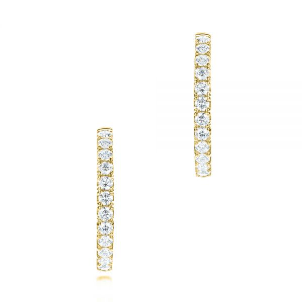 18k Yellow Gold 18k Yellow Gold Brilliant Facet Pav Diamond Hoop Earrings - Front View -  103692