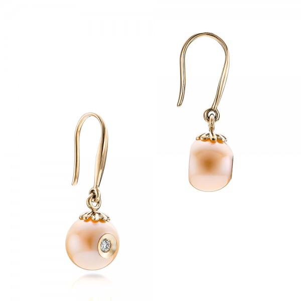 Fresh Peach Pearl and Diamond Earrings - Flat View -  101121 - Thumbnail