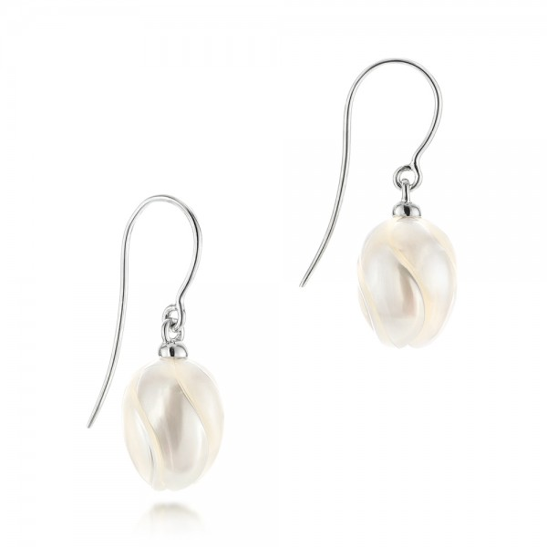 Carved Fresh Water Pearl Earrings - Flat View -  103241 - Thumbnail