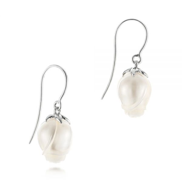 Carved Fresh Water Pearl Earrings - Front View -  103240 - Thumbnail