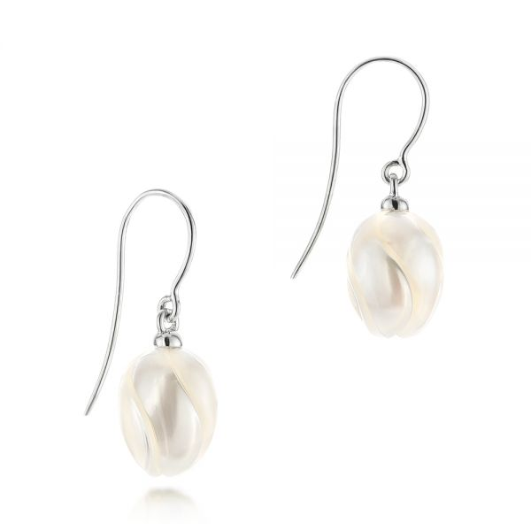 Carved Fresh Water Pearl Earrings - Front View -  103241 - Thumbnail