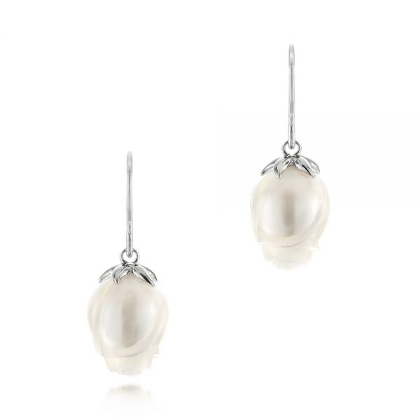 Carved Fresh Water Pearl Earrings - Three-Quarter View -  103240 - Thumbnail