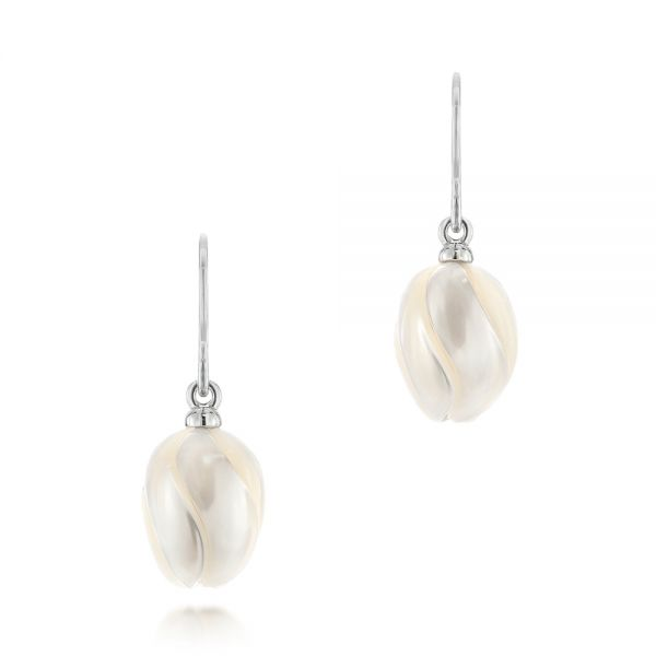 Carved Fresh Water Pearl Earrings - Image