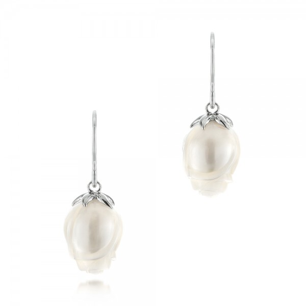 Carved Fresh Water Pearl Earrings