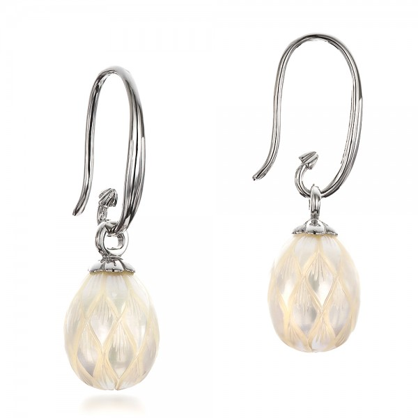 Carved Fresh White Pearl Earrings - Laying View