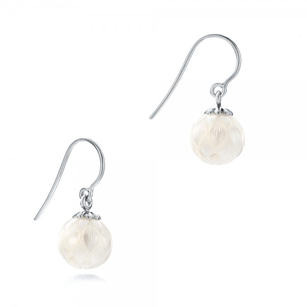 Carved Fresh White Pearl Earrings - Flat View -  102569 - Thumbnail