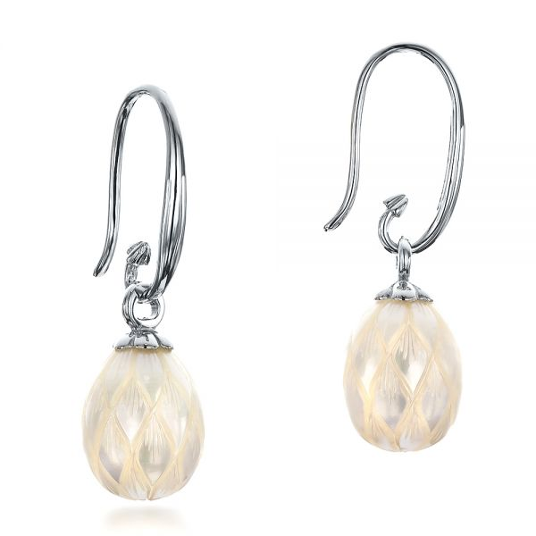 14k White Gold Carved Fresh White Pearl Earrings - Front View -  100303