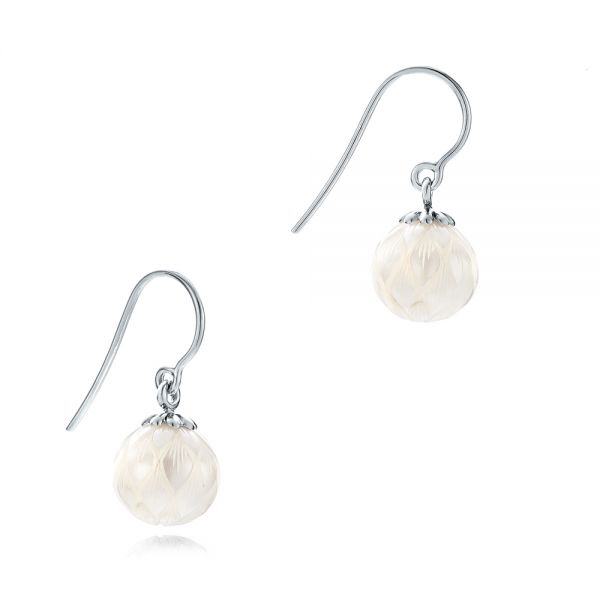 Carved Fresh White Pearl Earrings - Front View -  102569