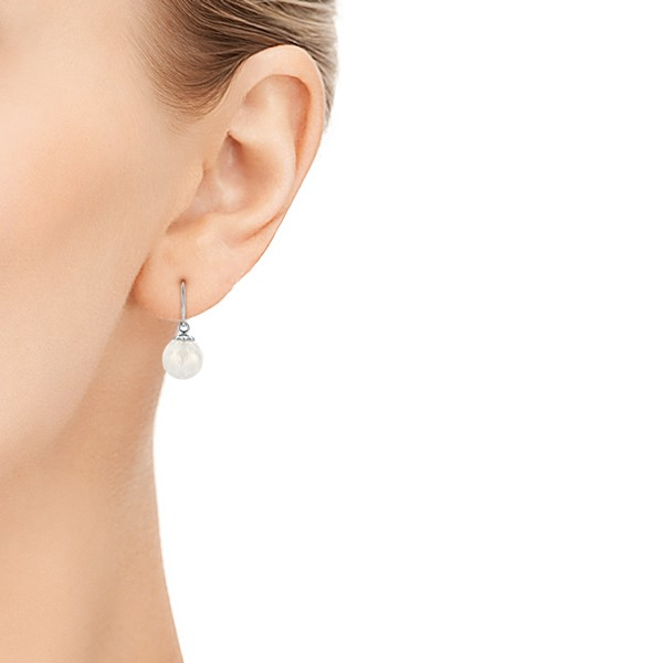 Carved Fresh White Pearl Earrings - Hand View -  102569 - Thumbnail