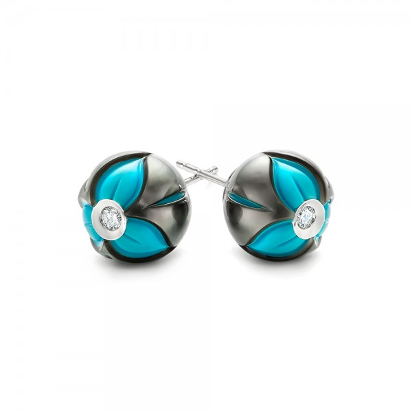 Carved Pearl Turquoise Diamond Earrings - Laying View