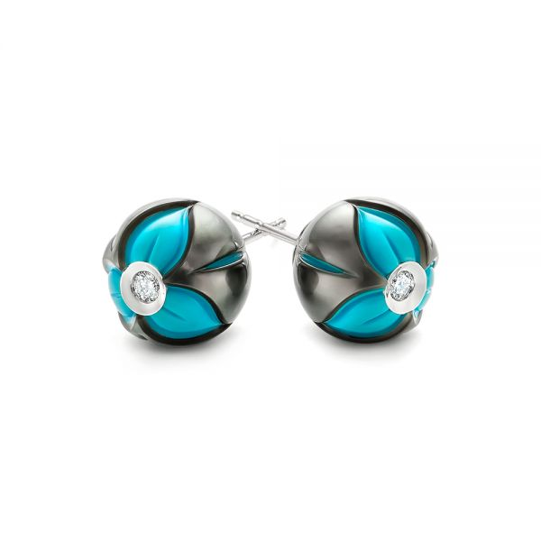 Carved Pearl Turquoise Diamond Earrings - Front View -  103250
