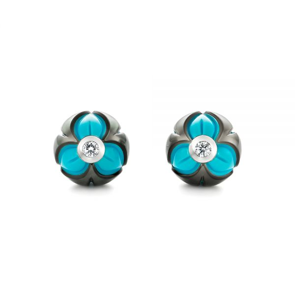 Carved Pearl Turquoise Diamond Earrings - Image