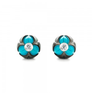 Carved Pearl Turquoise Diamond Earrings
