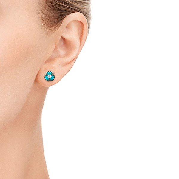 Carved Pearl Turquoise Diamond Earrings - Model View