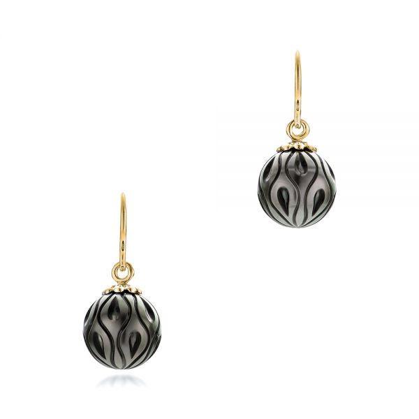 Carved Tahitian Black Pearl Calla Lily Earrings - Image