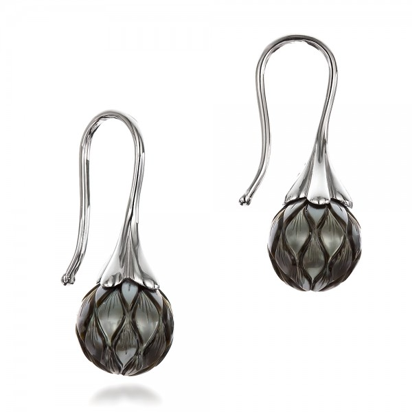 Carved Tahitian Pearl Earrings - Laying View