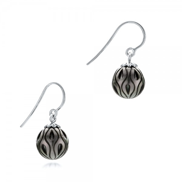 Carved Tahitian Pearl Earrings - Flat View -  102576 - Thumbnail