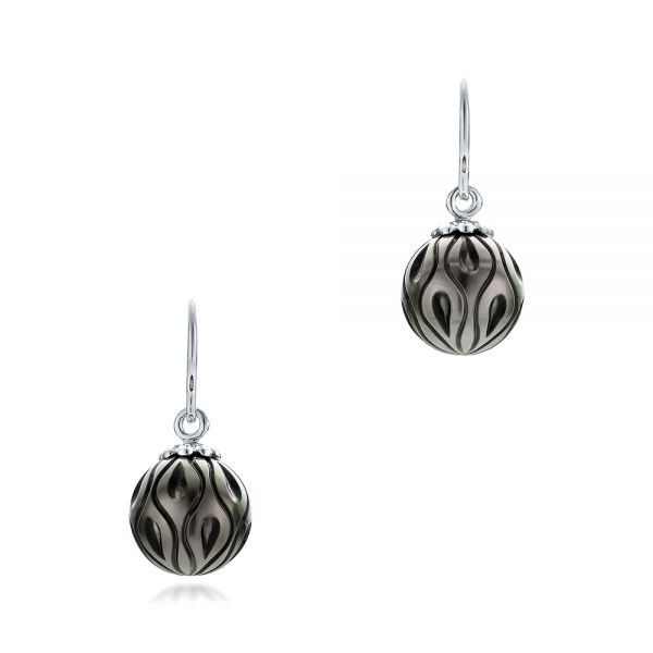 Carved Tahitian Pearl Earrings - Image