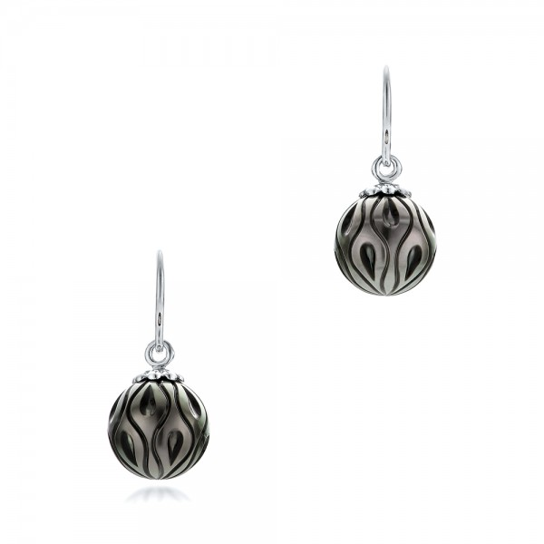 Carved Tahitian Pearl Earrings