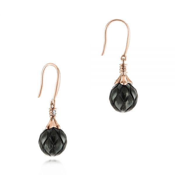 18k Rose Gold 18k Rose Gold Carved Tahitian Pearl And Diamond Earrings - Front View -  103255