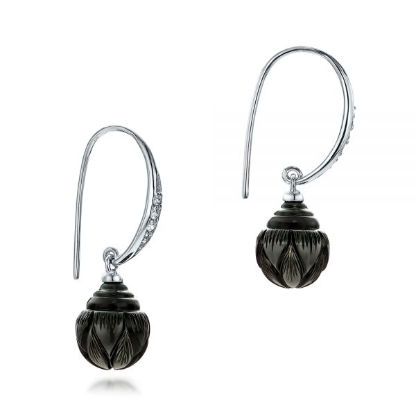 Carved Tahitian Pearl And Diamond Earrings - Front View -