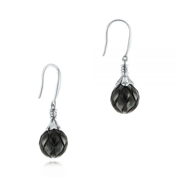 18k White Gold 18k White Gold Carved Tahitian Pearl And Diamond Earrings - Front View -  103255