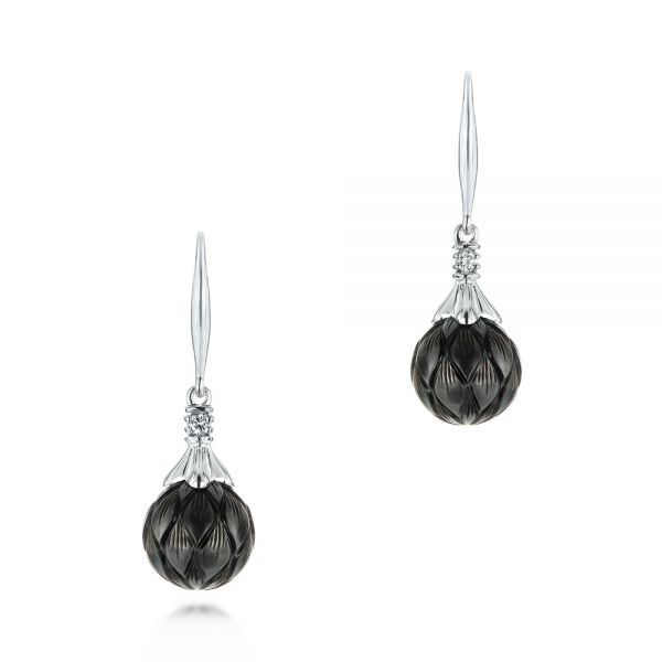 Carved Tahitian Pearl and Diamond Earrings - Image