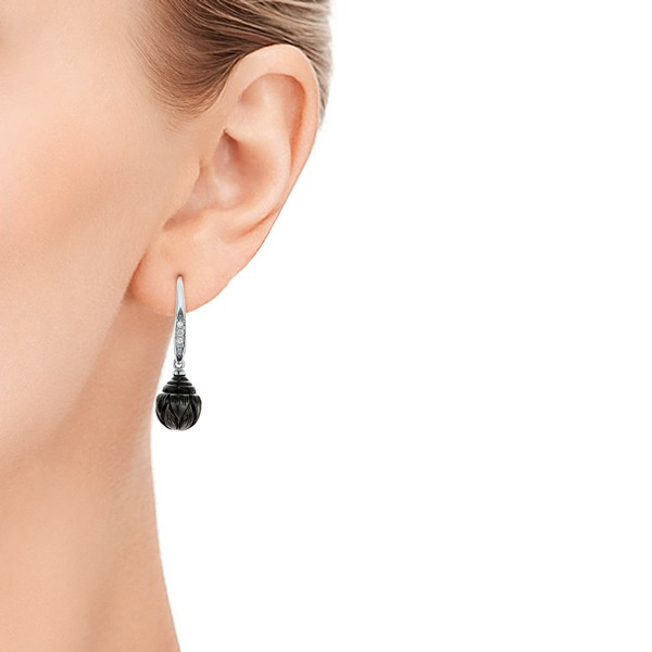 Carved Tahitian Pearl and Diamond Earrings - Model View