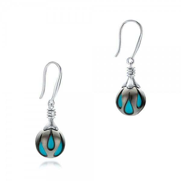 Carved Turquoise Tahitian Pearl Earrings - Flat View -  102572 - Thumbnail