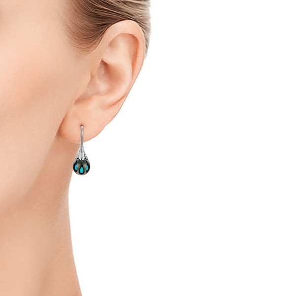Carved Turquoise Tahitian Pearl Earrings - Model View