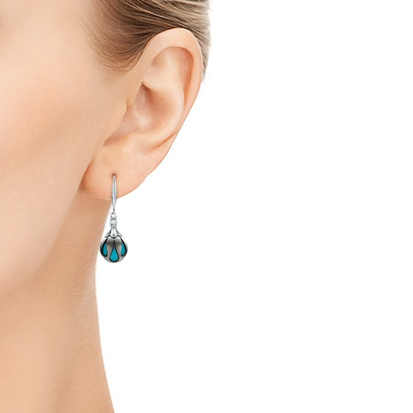 Carved Turquoise Tahitian Pearl Earrings - Hand View -  102572 - Thumbnail