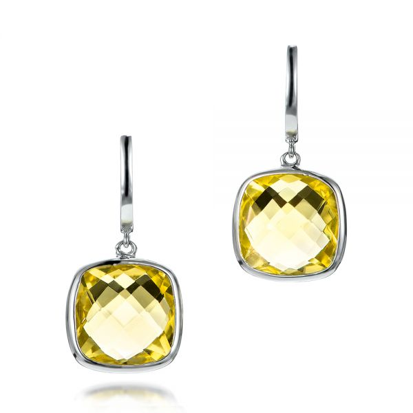 Checkerboard Lemon Quartz Earrings