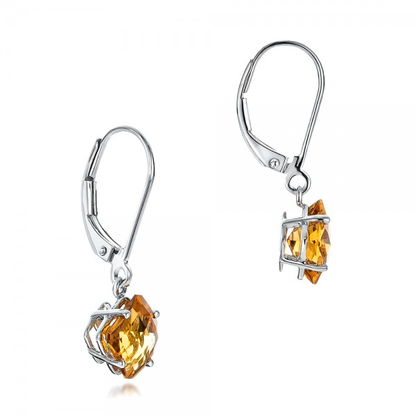 Square Checkerboard Citrine Drop Earrings - Flat View -  100506 - Thumbnail
