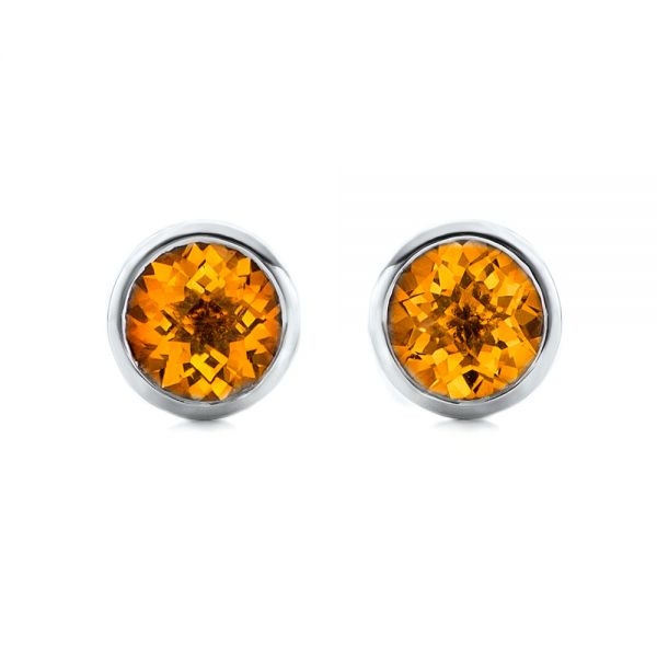 Citrine Bezel Set Stud Earrings