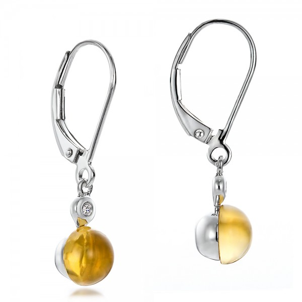 Citrine Cabochon and Diamond Earrings - Flat View -  100449 - Thumbnail
