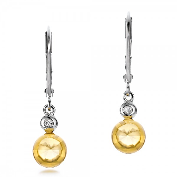 Citrine Cabochon and Diamond Earrings