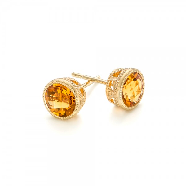Citrine Stud Earrings - Laying View