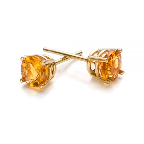 Citrine Stud Earrings - Front View -