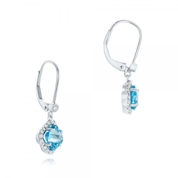 Clover Blue Topaz and Diamond Earrings - Laying View