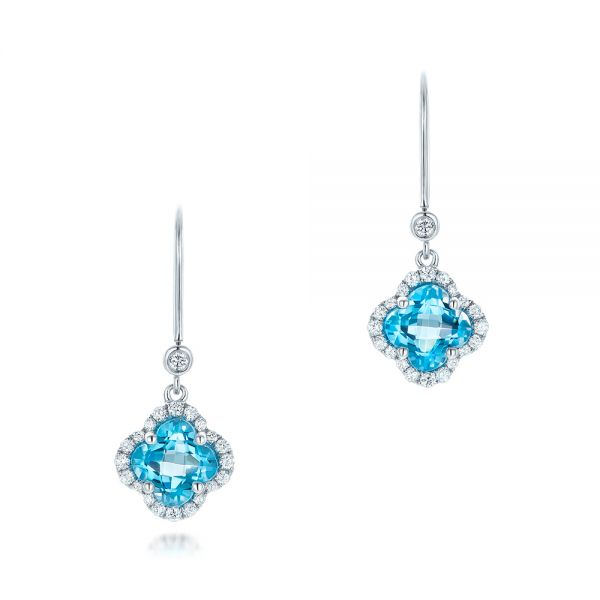 Clover Blue Topaz And Diamond Earrings - Three-Quarter View -  102610