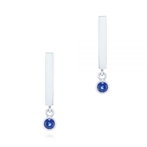 Contemporary Blue Sapphire Dangle Earrings - Image