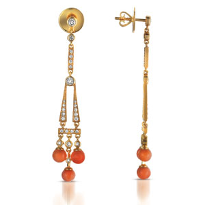Coral Pearl and Diamond Earrings - Vanna K