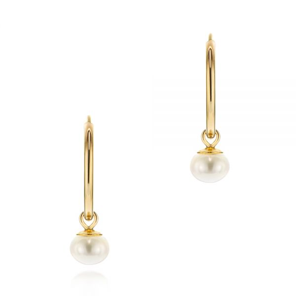 Cultured Pearl Dangle Hoop Earrings - Image