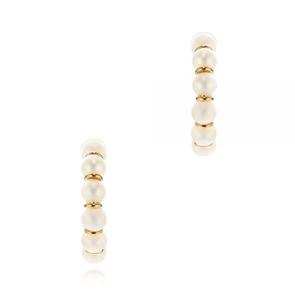 Cultured White Pearl Hoop Earrings - Image