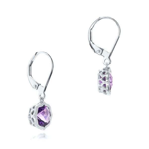 Amethyst Leverback Earrings - Flat View -  102511 - Thumbnail
