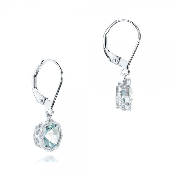 Aquamarine Leverback Earrings - Laying View
