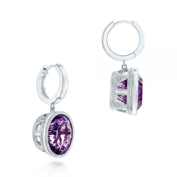 14k White Gold Custom Amethyst Drop Earrings - Front View -