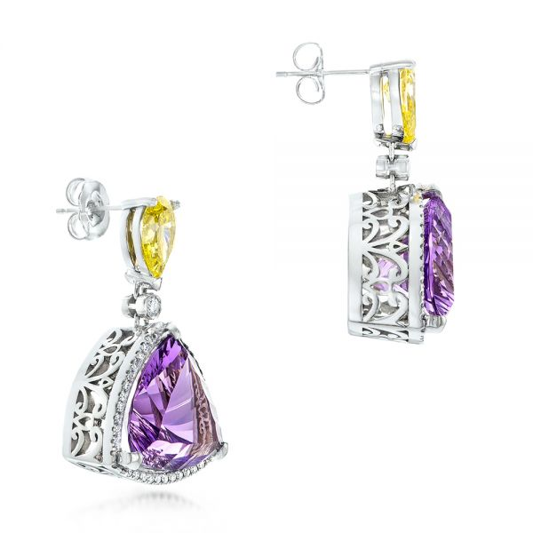 18k White Gold Custom Amethyst Yellow And White Diamond Halo Earrings - Front View -